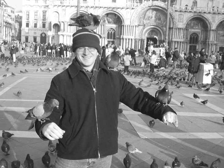 Tim Heidel's first trip outside the U.S. was as an exchange student at Cambridge University in England. The experience, he says, sparked in him a desire to see the world. He is shown here enjoying a recent trip to Venice. Photo: Monica Lewis