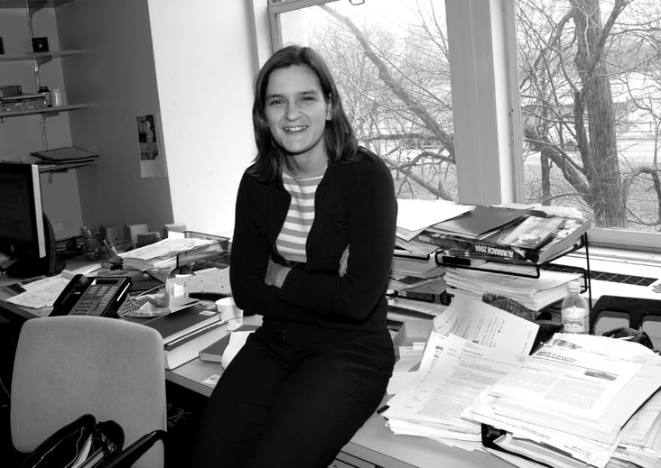 """Esther Duflo is an economics professor who pursues the big question driving her work: Why do the world's poor stay poor? """"It's the broad motivation for all I do,"""" says Duflo, who recently co-founded the MIT Poverty Action Lab. Photo: Ed Quinn"""