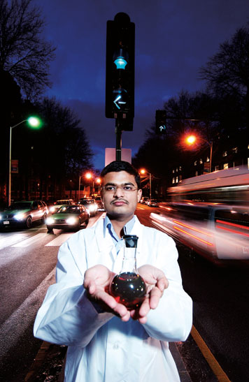 Anup Bandivadekar, a Ph.D. student, is working on a project to use hydrogen as an alternative to petroleum for transportation. Photo: Len Rubenstein