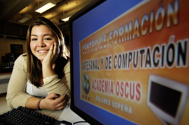 Angelica Weiner implemented a computer project for young women in Equador to teach them skills to land jobs.