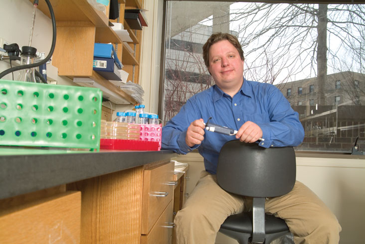 Asst. Prof. Michael Hemann is working to boost the effectiveness of cancer therapies. Photo: Ed Quinn