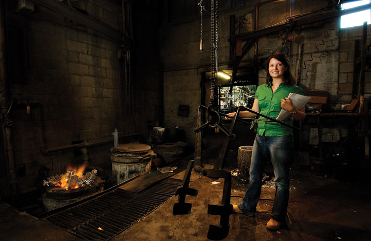 Besides seeking to improve the efficiencies of metal foundries (shown here is a Somerville, Mass., facility), Alissa Jones is helping plan a major, student-run energy conference at MIT. Photo: Len Rubenstein