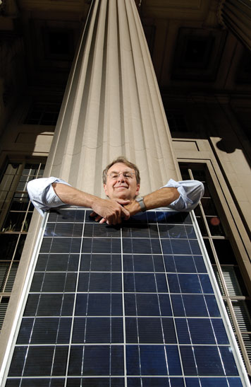Emanuel Sachs is seeking new ways to improve efficiencies and pare costs in manufacturing solar panels. Photo: Len Rubenstein