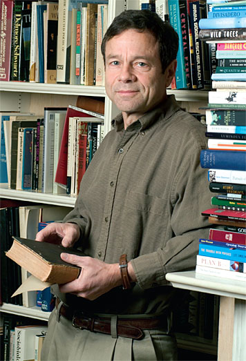 Prof. Alan Lightman focuses on the natural vs. the supernatural. Photo: Ed Quinn