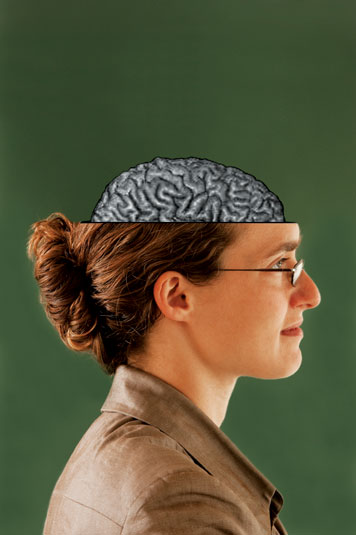 The photo inset here is actually an MRI of Prof. Rebecca Saxe's own brain. Photo: Len Rubenstein
