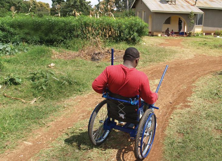 A user tests one of O'Hanley's wheelchairs in Moshi, Tanzania.  Photo: Courtesy Harry O'Hanley