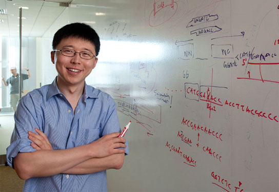 Feng Zhang is engineering nano-sized materials to change brain activity in animal models of psychiatric disease.  Photo: Len Rubenstein
