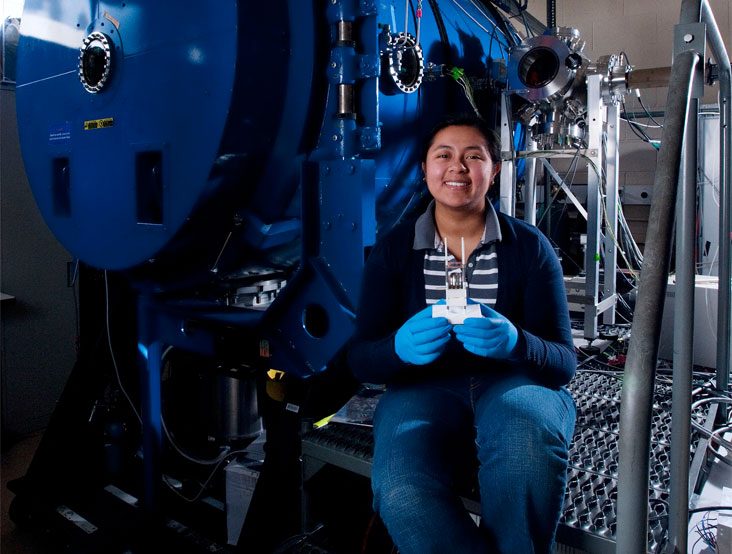 Carla Perez-Martinez, lead author on a published paper, is shown here at MIT's Space Propulsion Lab. Photo: Len Rubenstein