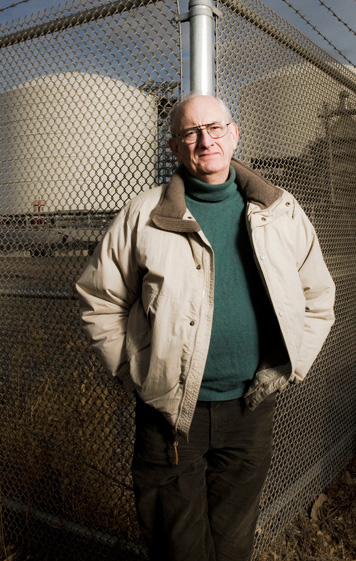 Henry Jacoby at the liquified natural gas tanks in Chelsea, MA. Photo: Len Rubenstein