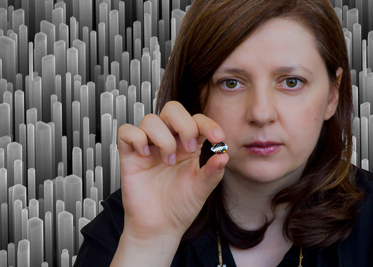 Silvija Gradečak's nanoscale work creates big-scale results that could transform energy production, storage, and lighting. Photo illustration: Len Rubenstein