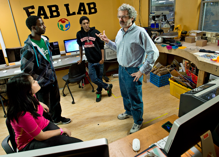 Neil Gershenfeld with students at Boston's South End Technology Center: Fab labs sparking a revolution in do-it-yourself manufacturing. Len Rubenstein