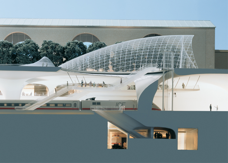 In Stuttgart, Germany, the new solar-powered train station: Eight underground tracks will connect to a high-speed rail network. Courtesy: Holger Knauf, ingenhoven architects