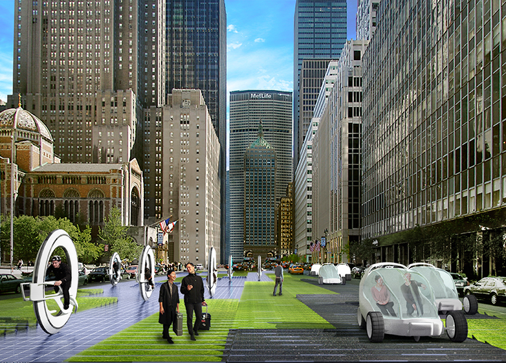 Rotating between asphalt, grass, and photovoltaic cells, spaces can dynamically shift from city street to park to energy source – on demand. If roads were solar panels, they could power 23.2% of Manhattan households. Höweler and Yoon Architecture