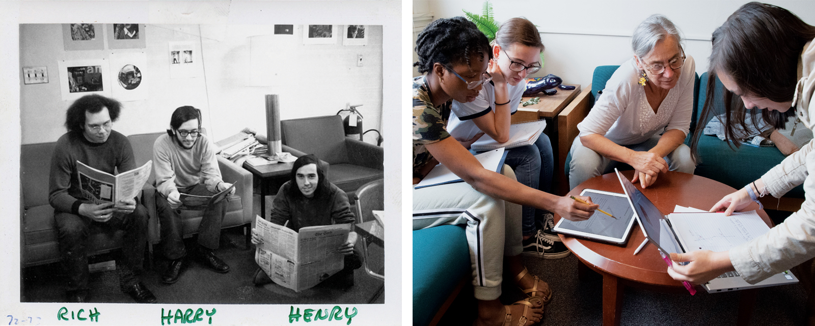 Left: Experimental Study Group students Rich Hilliard, Harry Bochner, and Henry Lieberman work together in 1972. Right: Professor Leigh Royden, center, teaches physics to first-years (from left, Alexandra Nwigwe, Veronica Perdomo, and Maya Redden) in 2019. Photos: Courtesy of Experimental Study Group