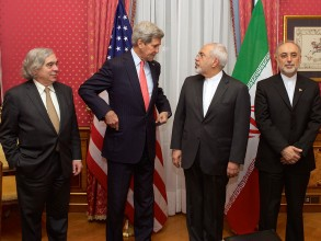 "From left to right: the United States Secretary of Energy Ernest Moniz, the United States Secretary of State John Kerry, the Iranian Foreign Minister Mohammad Javad Zarif and the head of the Atomic Energy Organization of Iran Ali Akbar Salehi, in the ""Salon Élysée"" of the Beau-Rivage Palace (Lausanne, Switzerland) on 16 March 2015. Image: United States Department of State"