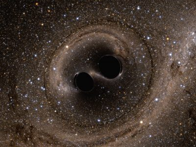A computer simulation shows the collision of two black holes, a tremendously powerful event detected for the first time ever by the Laser Interferometer Gravitational-Wave Observatory, or LIGO. LIGO detected gravitational waves, or ripples in space and time, generated as the black holes merged. The simulation shows what the merger would look like if we could somehow get a closer look. The stars appear warped due to the strong gravity of the black holes. Image: Simulating eXtreme Spacetimes