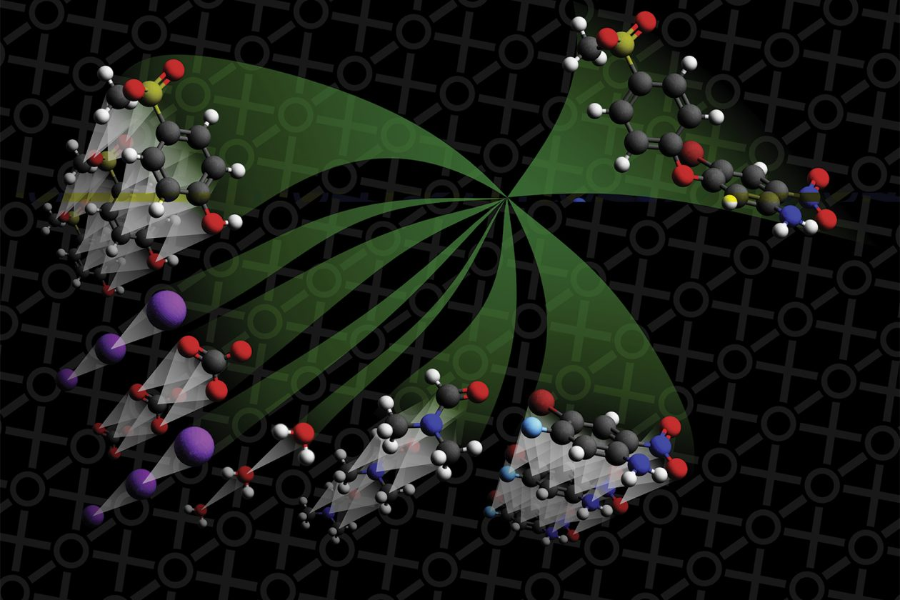 This graphic illustrates molecules at bottom left going through a neural network model (center). The single compound at the top right represents the product that the model believes will be formed. Illustration: Connor Coley