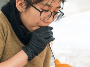 Student Sam Chin experiments with melted sugar. Image: John Werner