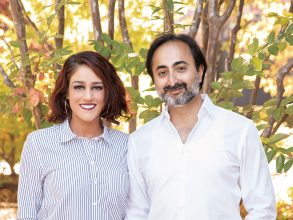 Hemant '97, MEng '99 and Jessica Taneja. Photo: Christophe Testi