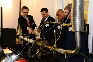A demonstration of FST sensors installed on a diesel engine exhaust system. Pictured, from left: Alexander Sappok PhD '09 (president, FST), Gary Christenson (mayor, City of Malden), Neal Anderson (president, Malden City Council), Greg Bialecki (Massachusetts State Secretary of Housing and Economic Development)