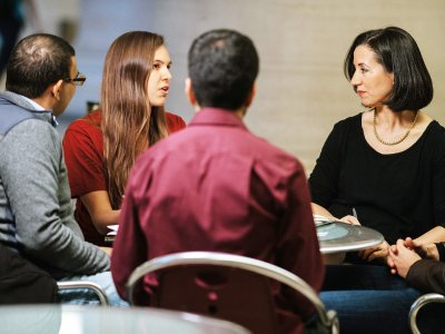 Jinane Abounadi, second from right, meets with MIT Sandbox participants. Image: Lillie Paquette