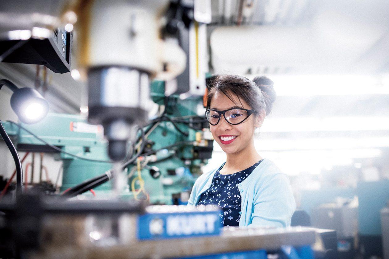 Grad student Raichelle Aniceto began her work in Kerri Cahoy's STAR Lab as an undergraduate. PHOTO: IAN MACLELLAN