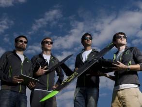 From left, the newest member of the Raptor Maps team, Mike Klinker '14, with founders Forrest Meyen SM '13, Nikhil Vadhavkar, and Edward Obropta '13, SM '15. Photo: Len Rubenstein