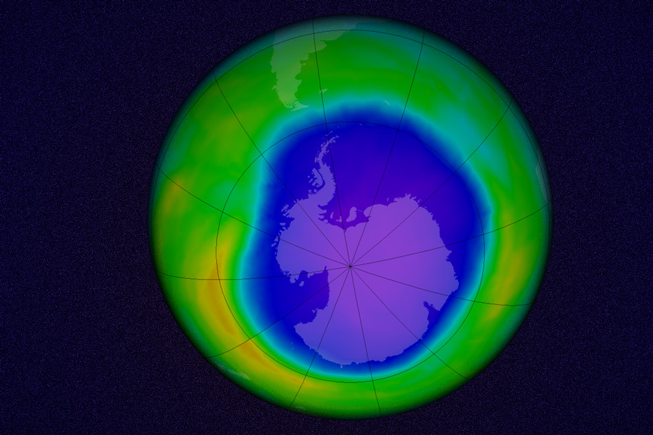 A simulation of the Antarctic ozone hole, made from data taken on October 22, 2015. Image: NASA's Goddard Space Flight Center (edited by MIT News)