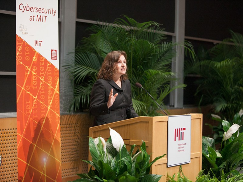 At an event announcing the new initiatives, CSAIL Director Daniela Rus highlighted her lab's role developing time-sharing and data encryption. Photo: Jason Dorfman/CSAIL