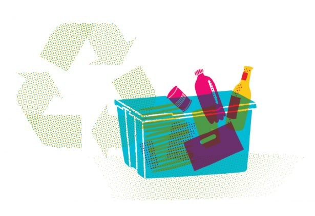 illustration of recycling items