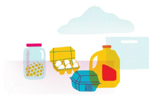 illustration of food in containers, including eggs and milk