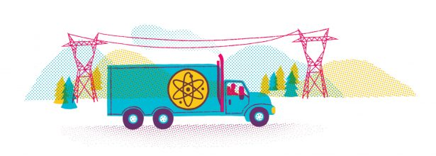 illustration of a truck driving down a road