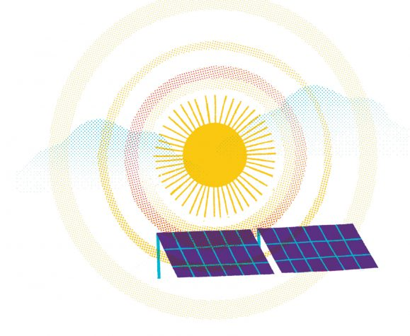 illustration of the sun and solar panels
