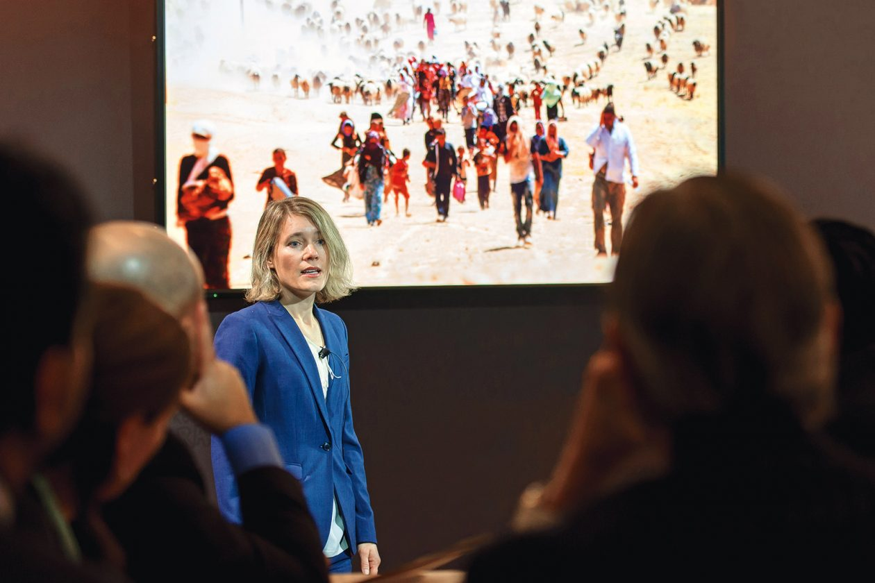 Many MIT faculty members, such as Jessika Trancik (pictured presenting her research on energy technologies in Davos, Switzerland), look to the MIT International Policy Lab for assistance in translating their findings into the language of policy.