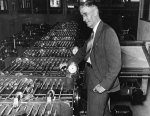 Vannevar Bush is shown with his differential analyzer, an analog electromechanical device that helped provide solutions to complex differential equations. Image: MIT Museum