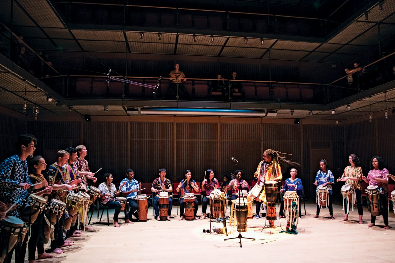 The Rambax Senegalese Drum Ensemble, led by Director Lamine Touré, performs at the Isabella Stewart Gardner Museum in Boston. Photo: Danny Goldfield