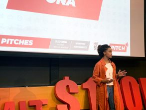 MBA student Brittny Chong pitches her startup ONA at the MIT $100K Entrepreneurship Competition in 2019. Photo: Courtesy Brittny Chong
