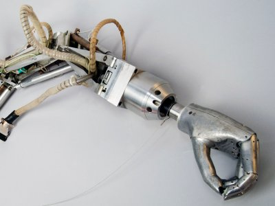 "In the 1960s, MIT professor Marvin Minsky and his group created this arm as part of their early machine vision research, which stimulated Minsky's famous ""Society of the Mind"" theory of AI. Photo: MIT Museum collections"