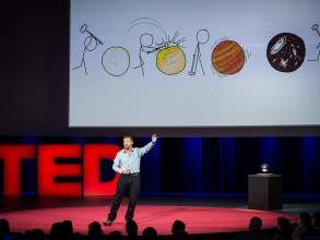 Physicist Allan Adams explains the Big Bang theory, with assistance from comic strip xkcd. Photo: James Duncan Davidson/TED