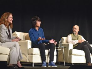 More than 400 members of the MIT community gathered in October 2018 at New York City's PlayStation Theater. Participants in a panel discussion on MIT's approach to education included, from left, moderator and MIT Chancellor Cynthia Barnhart SM '85, PhD '88, Ford Foundation Professor of Engineering; Simmons Hall president Edward Fan '19; and architecture professor and Environmental Solutions Initiative director John E. Fernández '85, faculty head of house at Baker House. Photo: Dana Maxson Photography
