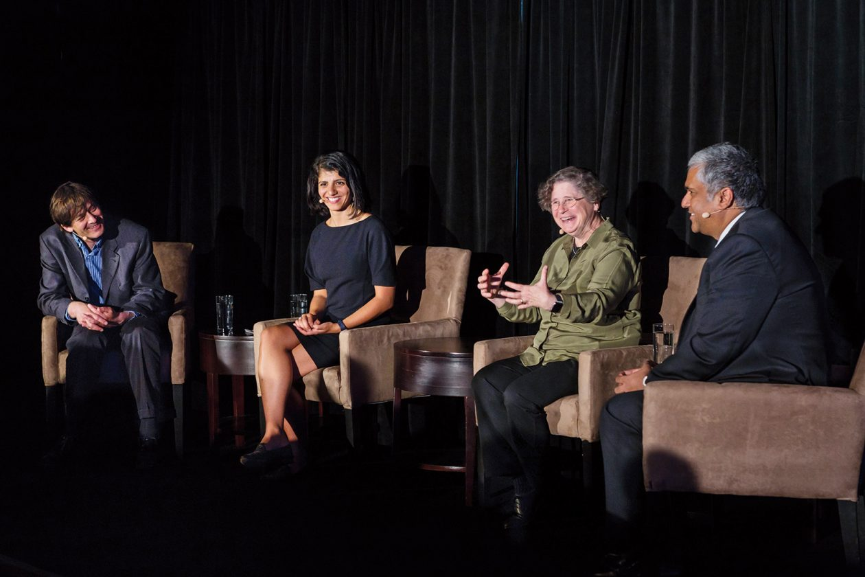 The May 2018 Better World event in Chicago brought members of the MIT community together for a discussion on the world-changing possibilities of human and machine intelligence through the powerful lens of MIT. Panelists (above, from left) included Avrim Blum '87, SM '89, PhD '91; Leyla Isik PhD '15; Panasonic Professor of Computer Science and Engineering Leslie Pack Kaelbling; and School of Engineering Dean Anantha P. Chandrakasan. Photo: Matthew Kaplan
