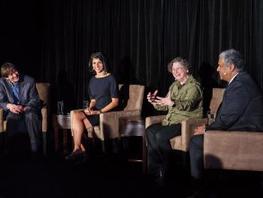 The May 2018 Better World event in Chicago brought members of the MIT community together for a discussion on the world-changing possibilities of human and machine intelligence through the powerful lens of MIT. Panelists (above, from left) included Avrim Blum '87, SM '89, PhD '91; Leyla Isik PhD '15; Panasonic Professor of Computer Science and Engineering Leslie Pack Kaelbling; and School of Engineering Dean Anantha P. Chandrakasan. Photo:MatthewKaplan