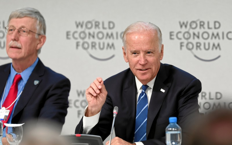 US Vice President Joseph Biden, Jr, (right) participated in the session 'Cancer Moonshot: A Call to Action' at the Annual Meeting 2016 of the World Economic Forum in Davos, Switzerland, January 19, 2016. Image: WORLD ECONOMIC FORUM/swiss-image.ch/Photo Moritz Hager (CC BY-NC-SA 2.0)