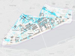 MIT's Climate Resiliency Dashboard reveals potential risk to the campus from flooding. Image: Courtesy of MIT Office of Sustainability