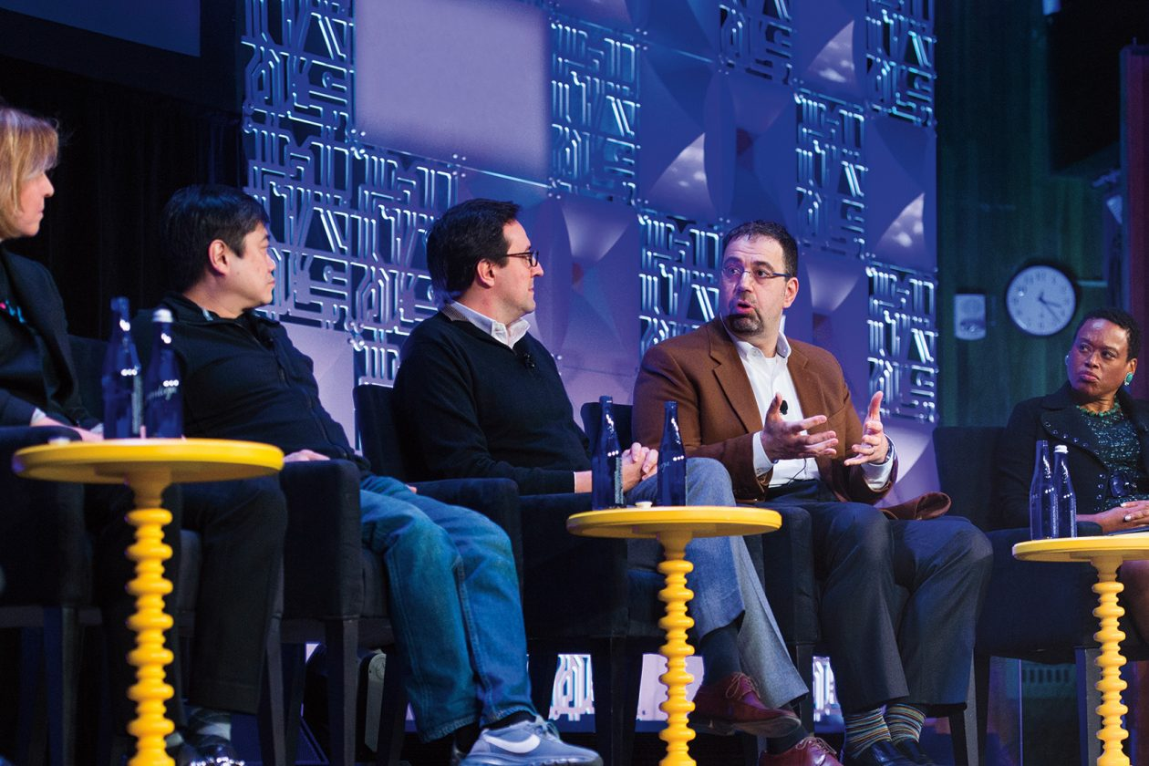 Panelists, from left, at the launch of the MIT Intelligence Quest: Megan Smith '86, SM '88, founder and CEO of shift7; Media Lab director Joi Ito; Dario Gil, vice president of AI and quantum computing at IBM; Daron Acemoglu, Elizabeth and James Killian Professor of Economics; and Melissa Nobles, Kenan Sahin Dean of the School of Humanities, Arts, and Social Sciences. Photo: Gretchen Ertl