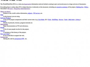 The first webpage ever created described the World Wide Web project. The page is preserved on the CERN's website. (Image: CERN)