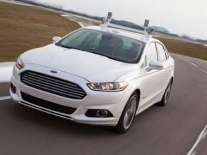 The four LiDAR sensors on the roof of this Ford Fusion generate a real-time 3D map of the vehicle's surrounding environment. Image: Ford