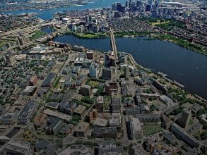 A view over Kendall Square and the Charles River, toward Boston (2011). Photo:LesVants