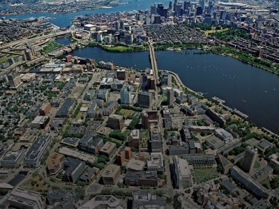 A view over Kendall Square and the Charles River, toward Boston (2011). Photo: Les Vants