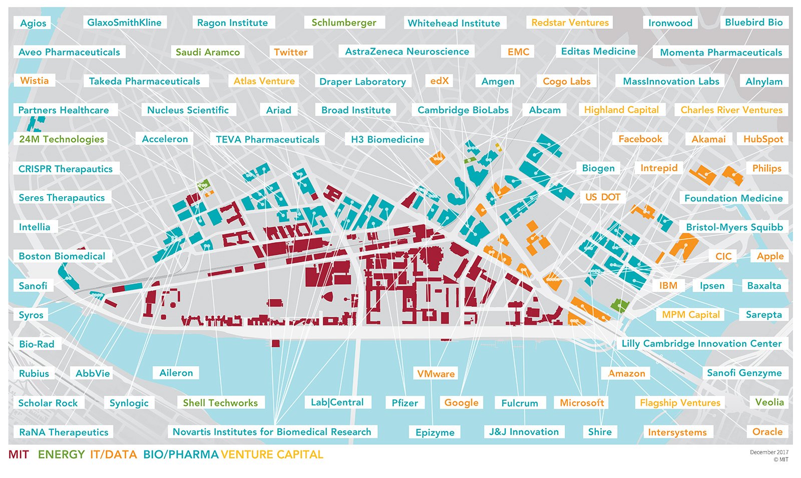Map showing MIT-founded companies in Kendall Square